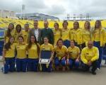 Ángel Víctor Torres recibe a las jugadoras de hockey del UD Taburiente tras su ascenso a la División de Honor Femenina