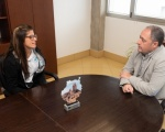 Francisco Castellano mantuvo un encuentro con la regatista Patricia Cantero, recién llegada de disputar la Copa del mundo de la Clase 470